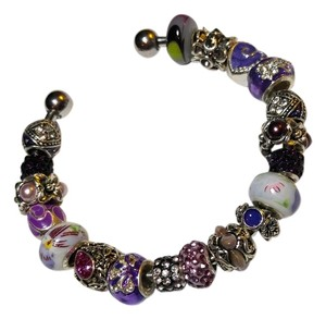 European Charm Bracelet 19 Removable Charms Bangle J1622