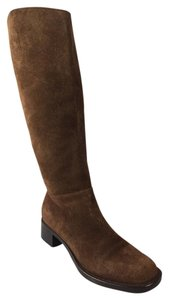 Prada Leather Logo Tall Moto Chocolate Brown Boots