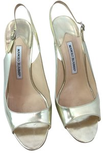 Manolo Blahnik Leather Open Toe Slingback Heels GOLD Formal