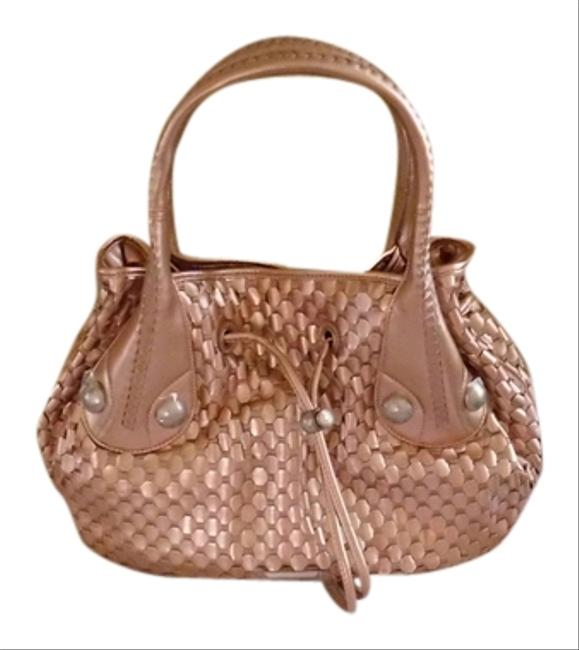 Item - Woven Rose Gold Leather Hobo Bag