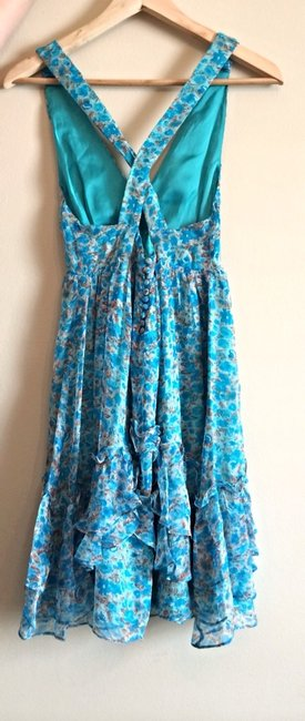 MM Couture short dress Floral Blue, Brown And Teal on Tradesy