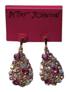 Betsey Johnson NWT Betsey Johnson Earrings Oversize Posted Pink Crystals gorgeous