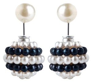 New Double Ball Pearl Black White Stud Earrings Large Jewelry J1626