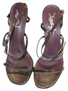 Saint Laurent Ysl Summer Strappy Glamour Patent Leather Purple - Aubergine Sandals