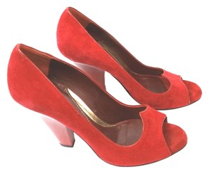 Zac Posen Suede Leather Open Toe Patent Heels RED Pumps