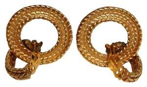 Chanel Chanel #3879 Round Double loop removable large gold rope clip on earrings