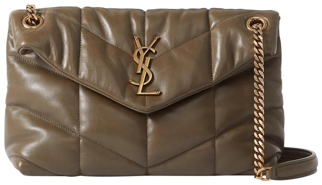Item - Monogram Loulou Ysl Puffer Small In Quilted Seaweed Green Lambskin Leather Shoulder Bag