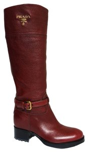 Prada Leather Leather Bordeaux - Red Wine Boots