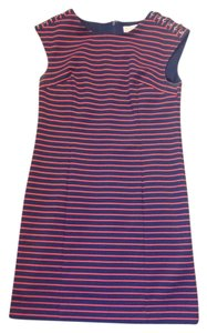 Michael Kors short dress Navy and coral stripe on Tradesy