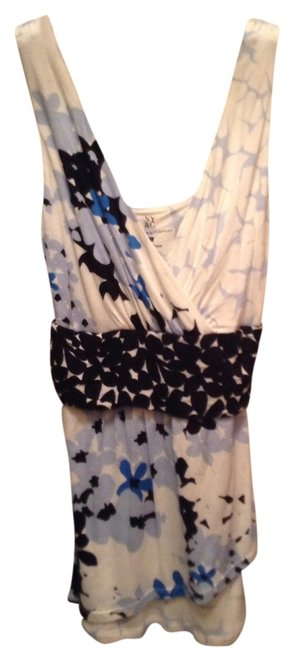 New York & Company Ny Wrap Crossover Floral Flounced Tank Shirt Summer Dressy Casual Xs Xsmall Small Limited Top Blue