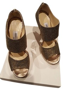 Jimmy Choo Private Cuff Glitter Fabric Metallic Gold Sandals