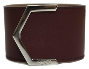 Fendi Fendi Leather Burdundy Cuff Bracelet 240015