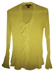 Style & Co Crinkle Sheer Ruffle Top Lime Green