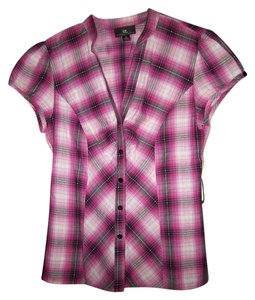 IZ Byer California Pink Buttoned Plaid Top Pink/Black/White