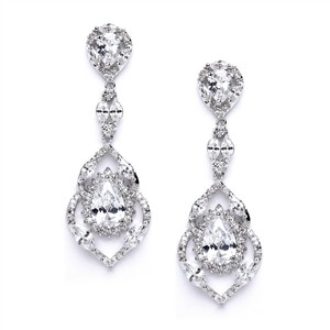 Mariell Silver Cubic Zirconia Dangle and Prom Earrings