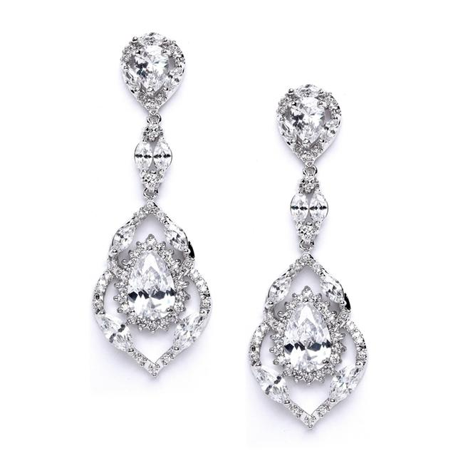 Item - Silver Cubic Zirconia Dangle and Prom Earrings