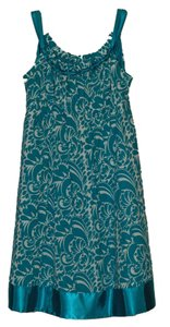 Donna Ricco Blue Bow Ribbon Paisley Dress