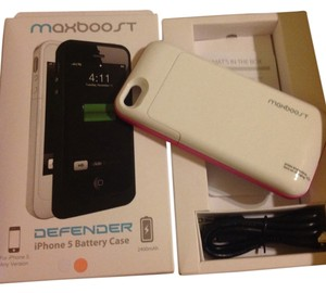 Maxboost Maxboost defender extended built in battery hard shell case iphone5 2400 mAh doubles battery life Pink White