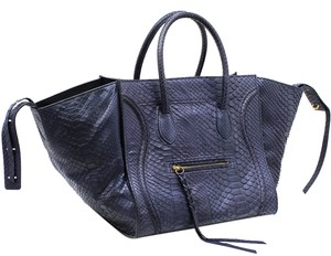 Céline Snake Skin Handbag Python Blue Tote in Dark Blue