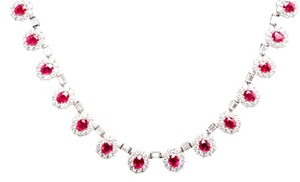 18k White Gold Diamond and Ruby Necklace