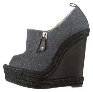 Christian Louboutin Flannel Deroba Leather Grey and Black Wedges