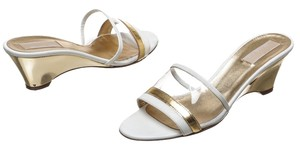 Michael by Michael Kors White and Gold Wedges