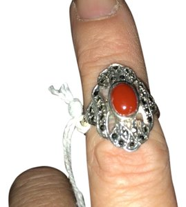 Oval Cut Blood Red Coral & Marcasite Sterling Silver Ring-#425