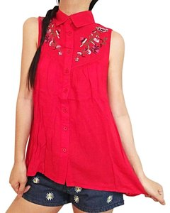 verty Button Down Shirt Red