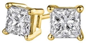 LoveBrightJewelry Specially Designed Princess Cut Diamond Stud Earrings
