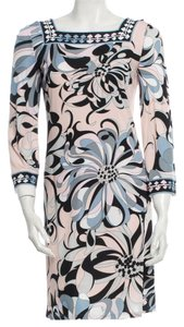Emilio Pucci Pink Multicolor Longsleeve Logo Monogram Print 6 40 S Small Dress