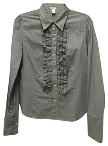Aqua Ruffled Button Down Work Button Down Shirt Grey and White Pinstripe
