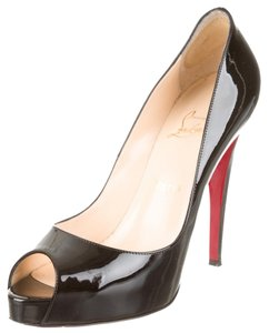 Christian Louboutin Patent Patent Leather Very Prive Very Prive Stiletto Peep Toe Platform Hidden Platform 39.5 9.5 New Sexy Red Sole Black Pumps