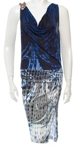 Emilio Pucci Multicolor Logo Monogram Print Embellished Textured Silk Sleeveless 44 8 M Medium New Large L Dress