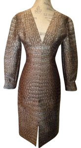 Stella McCartney Size 38 Plunge V-neck Party Holiday Backless Snakeskin Sexy With Tags Long Sleeve Dress