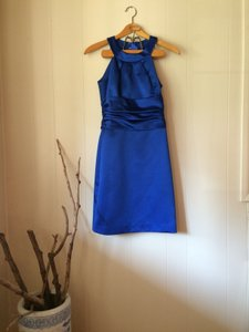 David's Bridal Royal Blue Satin F13277 Formal Bridesmaid/Mob Dress Size 2 (XS)