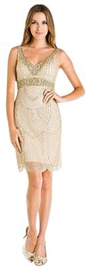 Sue Wong Gatsby Art Deco Mesh Beaded Dress