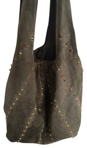 Twelfth St. by Cynthia Vincent Brass Hardware Studs Gold Suede Tote Hobo Bag