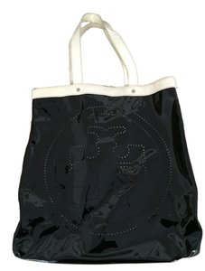 Tory Burch Patent Perforated Water-repellant Tote in Black & White