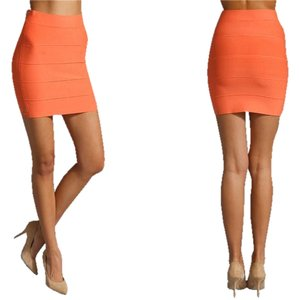 BCBGMAXAZRIA Bcbg Bandage Orange Pencil Skirt Tangelo Orange