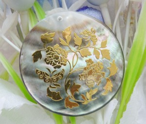 Gold Floral Painted Abalone Shell Pendant Free Chain