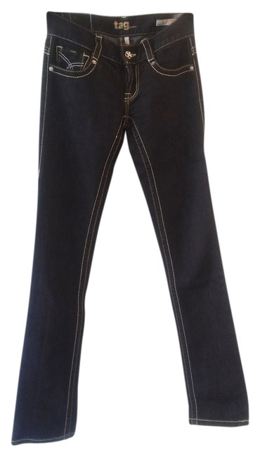 Tag Jeans Contrast Stitching Straight Leg Jeans-Dark Rinse