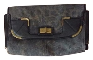 Jessica Simpson Denim Leopard Clutch