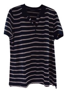 Laura Scott Summer Polo Preppy Preppy Button Down Shirt Navy/Pink