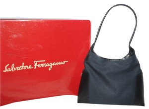 Salvatore Ferragamo Black Canvas Hobo Bag