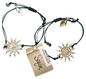 Other Gold tone and silver tone Starbursts with rhinestones - 1 inch diameter, with black cord