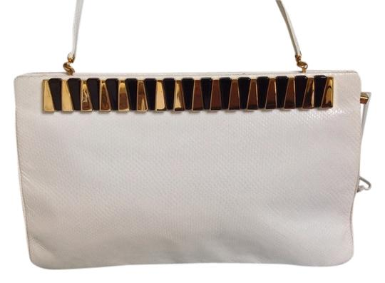 Judith Leiber Vintage Snakeskin Comb And Mirror White Clutch