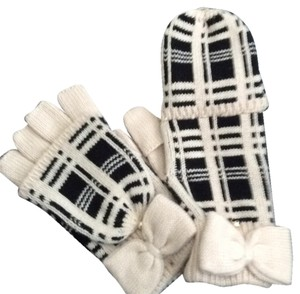 Kate Spade Scuba Plaid Gloves With Bow