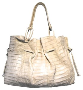 Nancy Gonzalez Crocodile Tote in Cream