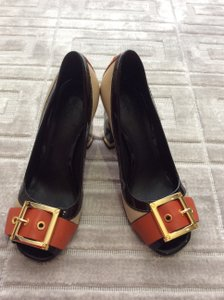 Tory Burch Leather Sandals Patent Leather Color Block Gold Hardware Chocolate/Tan/Orange Pumps