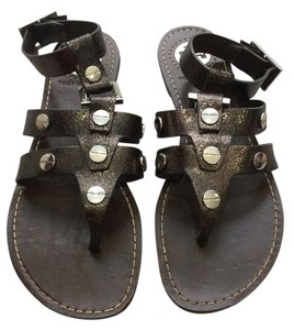 Tory Burch Gladiator Studded Metallic Leather Ankle Strap Anthracite Sandals